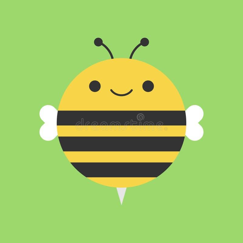 Icono redondo del vector de la abeja linda ilustración del vector