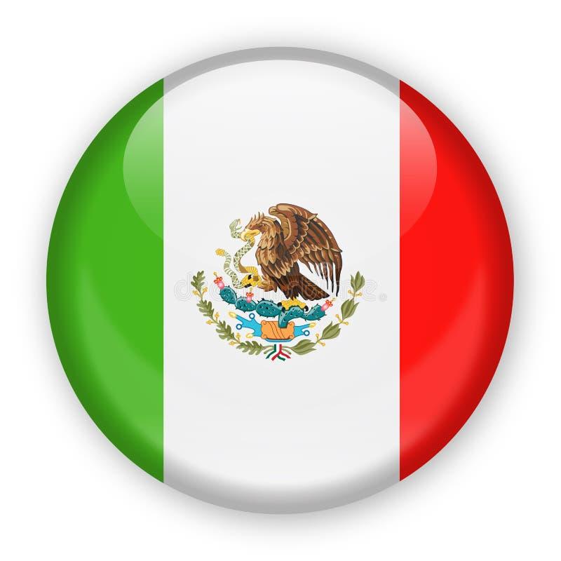 Icono redondo del vector de la bandera de México ilustración del vector