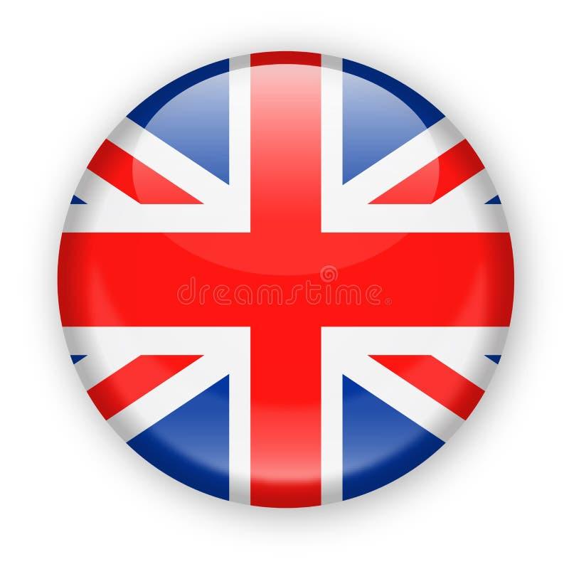Icono redondo del vector de la bandera de Reino Unido stock de ilustración