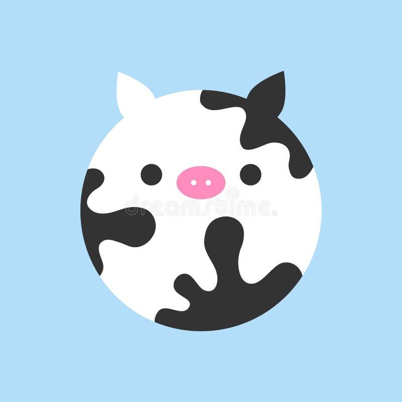 Icono redondo del vector de la vaca linda stock de ilustración