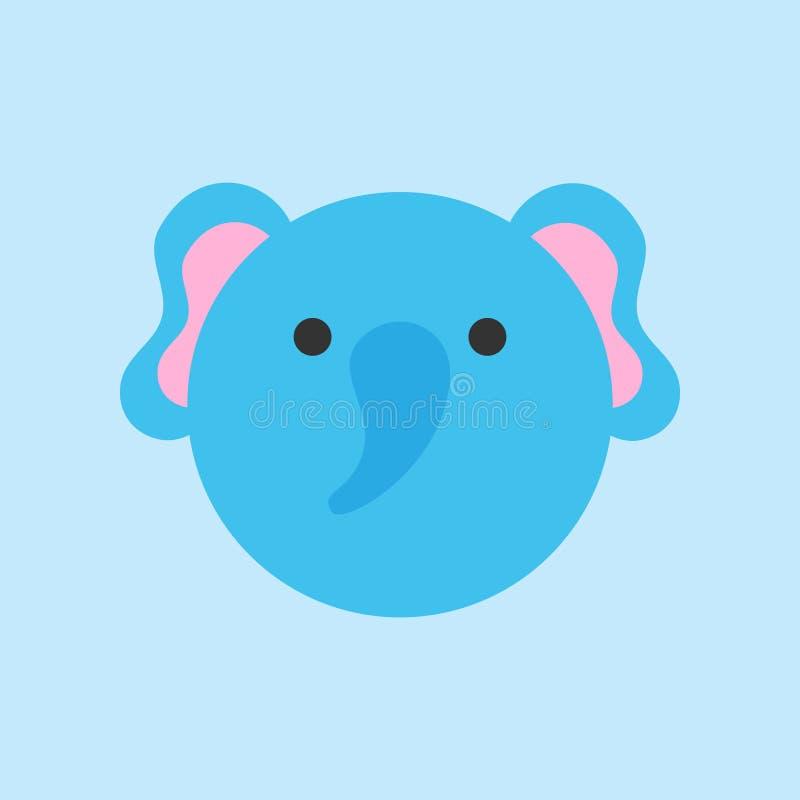 Icono redondo del vector del elefante lindo ilustración del vector