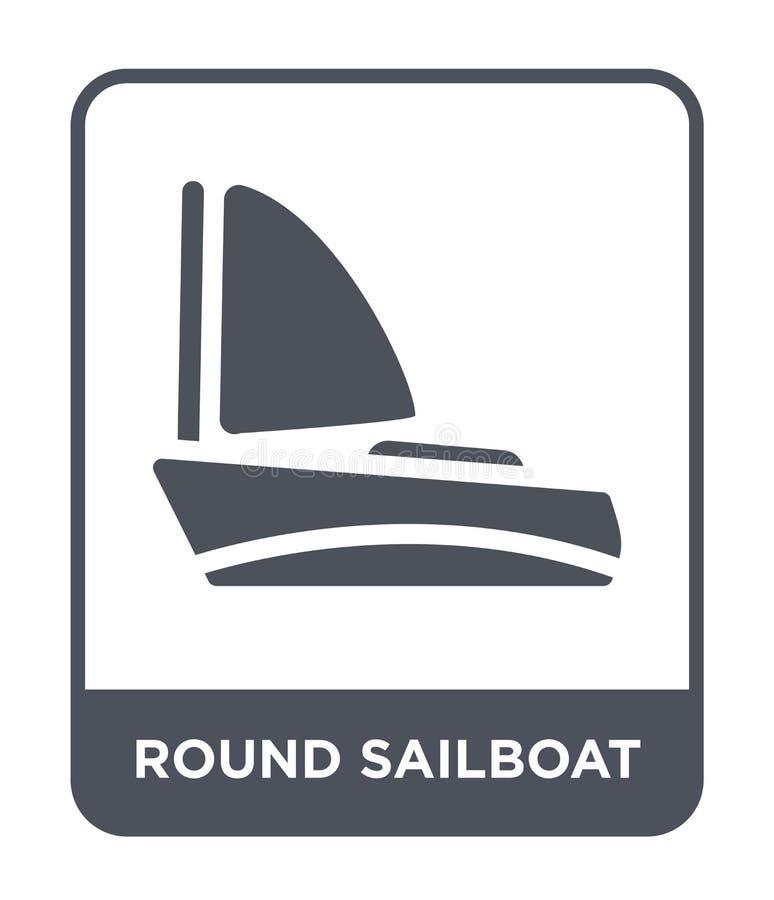icono redondo del velero en estilo de moda del diseño icono redondo del velero aislado en el fondo blanco icono redondo del vecto stock de ilustración