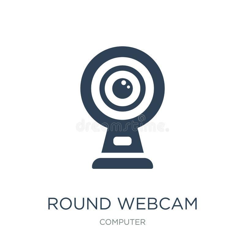 icono redondo del webcam en estilo de moda del diseño icono redondo del webcam aislado en el fondo blanco icono redondo del vecto libre illustration