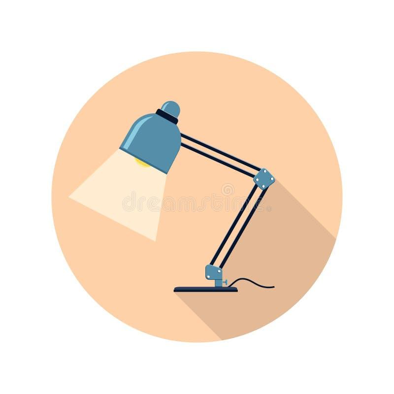 Icono redondo plano coloreado, diseño del vector con la sombra Lámpara de mesa de la oficina libre illustration