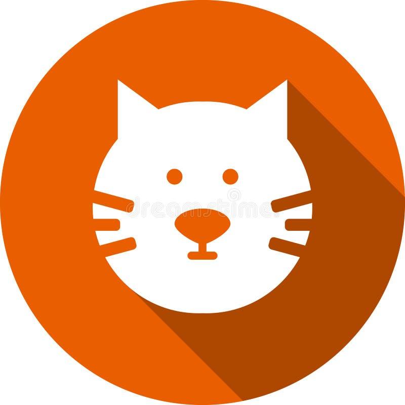 Icono redondo principal del vector del gato con la sombra larga stock de ilustración