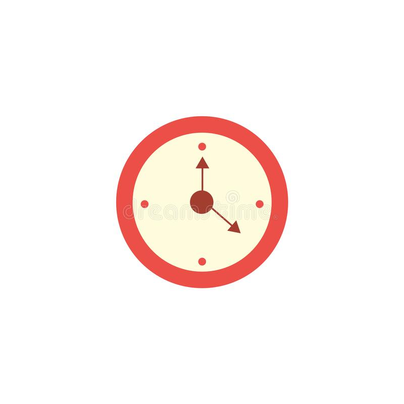 Icono redondo rojo clásico del reloj de pared del estilo plano stock de ilustración