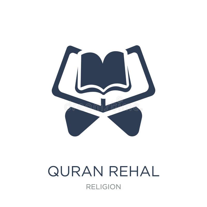 Icono rehal del Quran Icono rehal del Quran plano de moda del vector en b blanco stock de ilustración