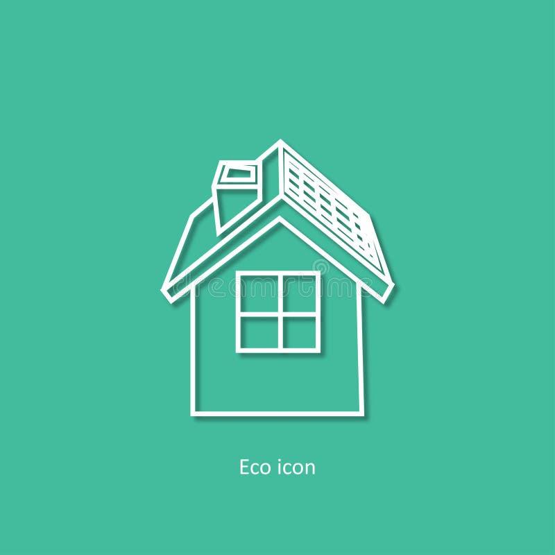 Icono relacionado del esquema del eco simple del vector Casa de Eco Elemento aislado del diseño en estilo de papel de moda del ar libre illustration