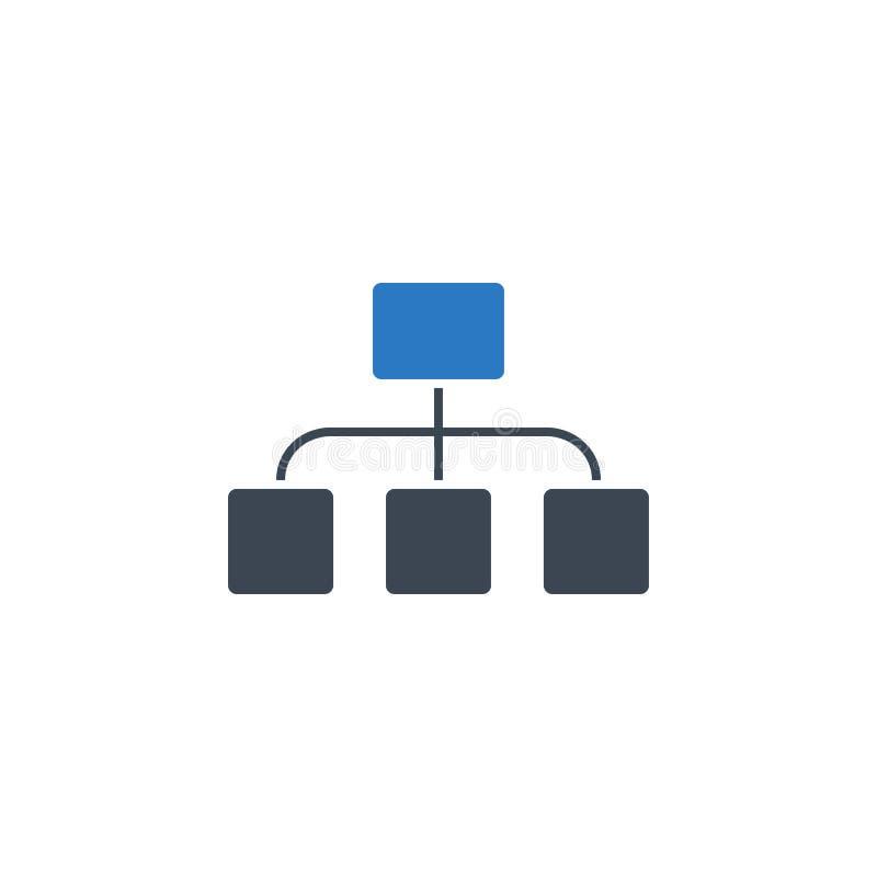 Icono relacionado plano del glyph del vector de la organización ilustración del vector