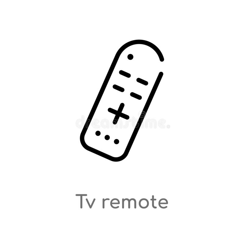 icono remoto del vector del esquema TV línea simple negra aislada ejemplo del elemento del concepto del ordenador movimiento edit stock de ilustración