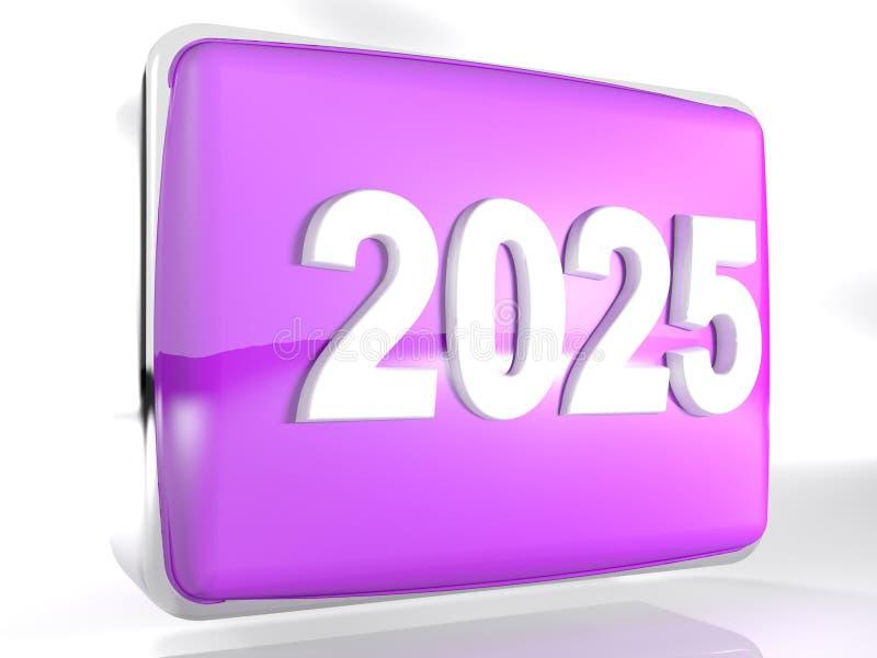 Icono 2025 - representación de la púrpura de la caja 3D stock de ilustración