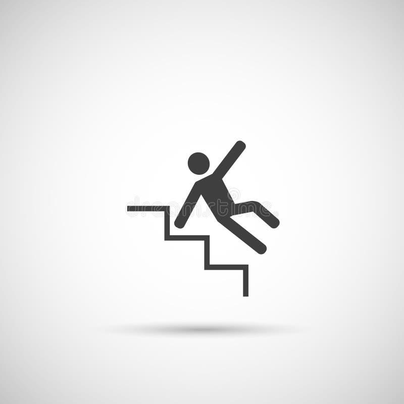 Icono resbaladizo de los pasos hombre que cae en las escaleras ilustración del vector