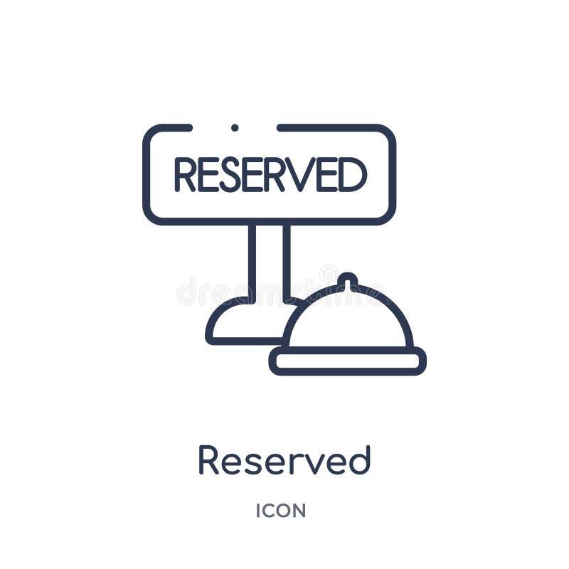 Icono reservado linear de la colección del esquema del hotel y del restaurante La línea fina reservó el icono aislado en el fondo libre illustration