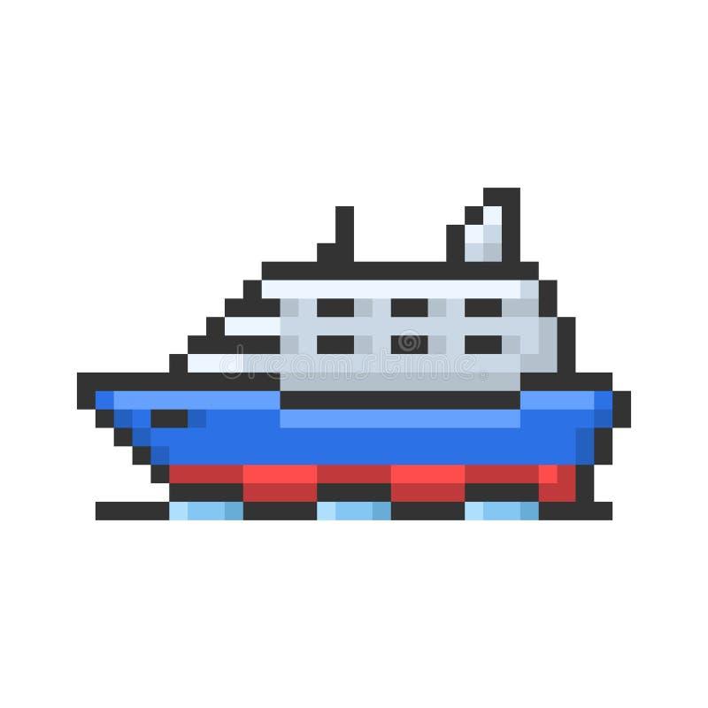 Icono resumido del pixel de la nave stock de ilustración
