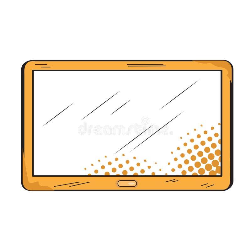 Icono retro aislado de la tableta stock de ilustración
