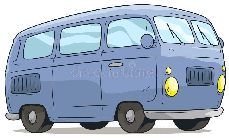 Icono retro azul lindo del vector de van bus de la historieta stock de ilustración