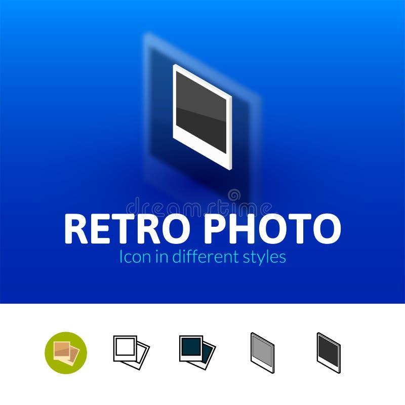 Icono retro de la foto en diverso estilo stock de ilustración