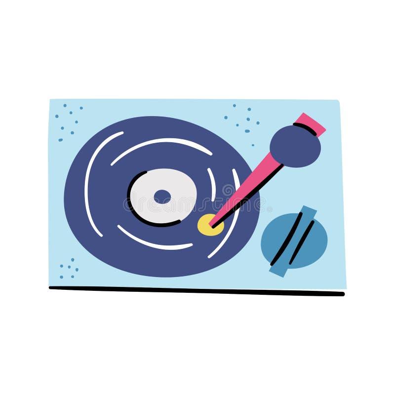 Icono retro de la historieta del jugador de disco de vinilo de la placa giratoria del vector stock de ilustración