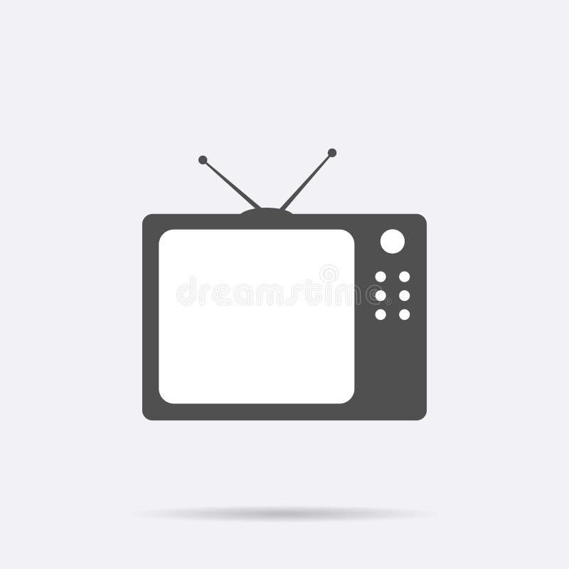 Icono retro de la TV aislado en fondo Pictograma plano moderno de la televisión, negocio, márketing, interno ilustración del vector