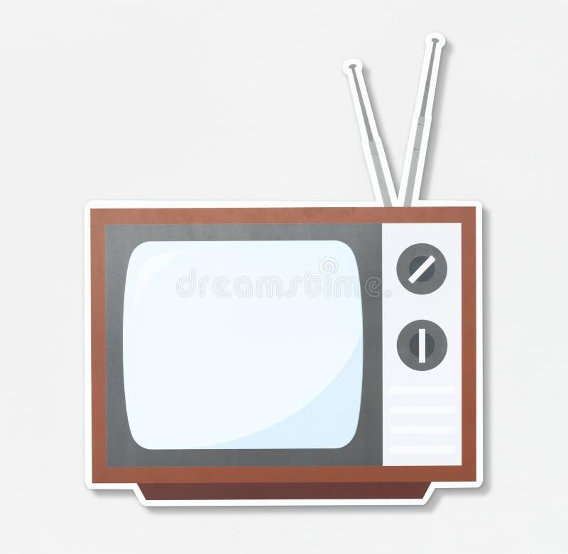 Icono retro de la TV en el fondo blanco foto de archivo