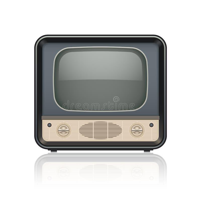 Icono retro del aparato de TV del vintage stock de ilustración