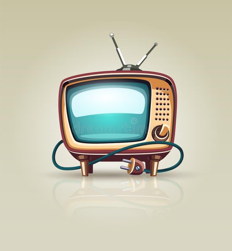 Icono retro del aparato de TV del vintage ilustración del vector