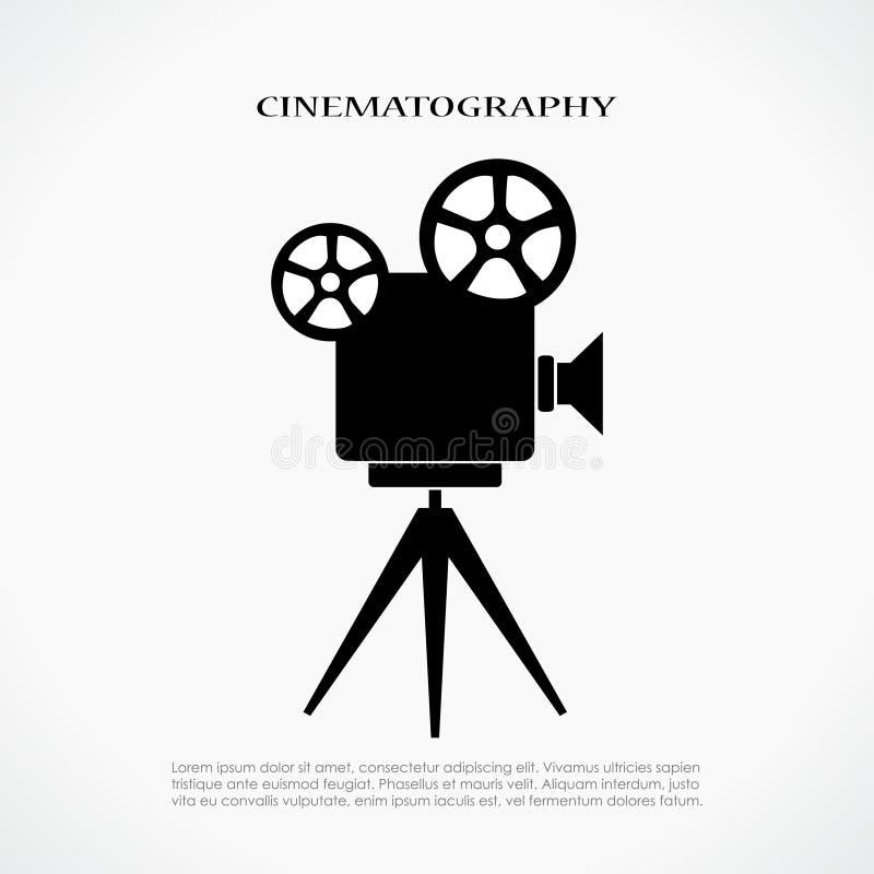 Icono retro del cine stock de ilustración