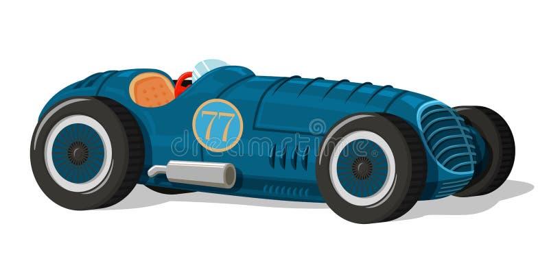 Icono retro del coche de competición ilustración del vector