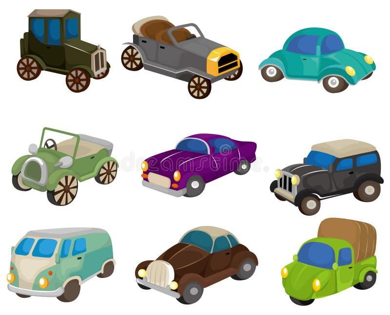Icono retro del coche de la historieta ilustración del vector