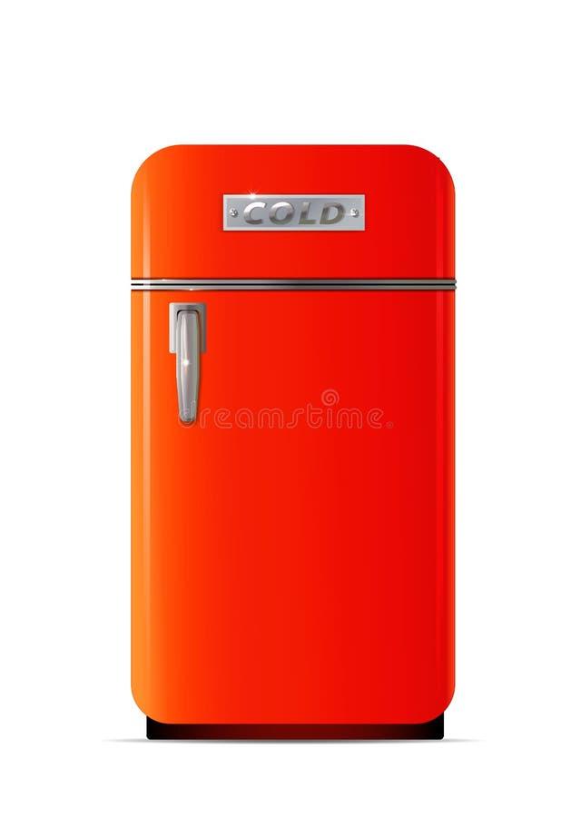 Icono retro del refrigerador Ejemplo plano del icono retro del vector del refrigerador libre illustration