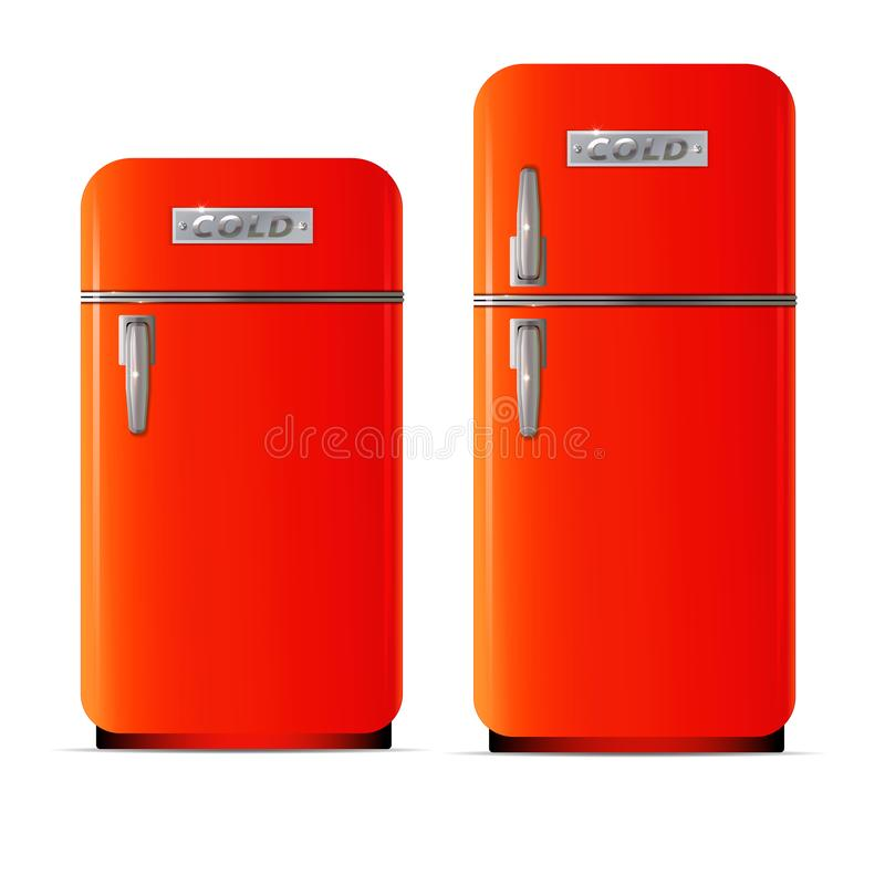 Icono retro del refrigerador Ejemplo plano del icono retro del vector del refrigerador stock de ilustración