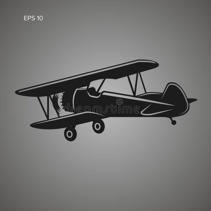 Icono retro del vector plano del biplano Aeroplano del motor de pistón del vintage stock de ilustración