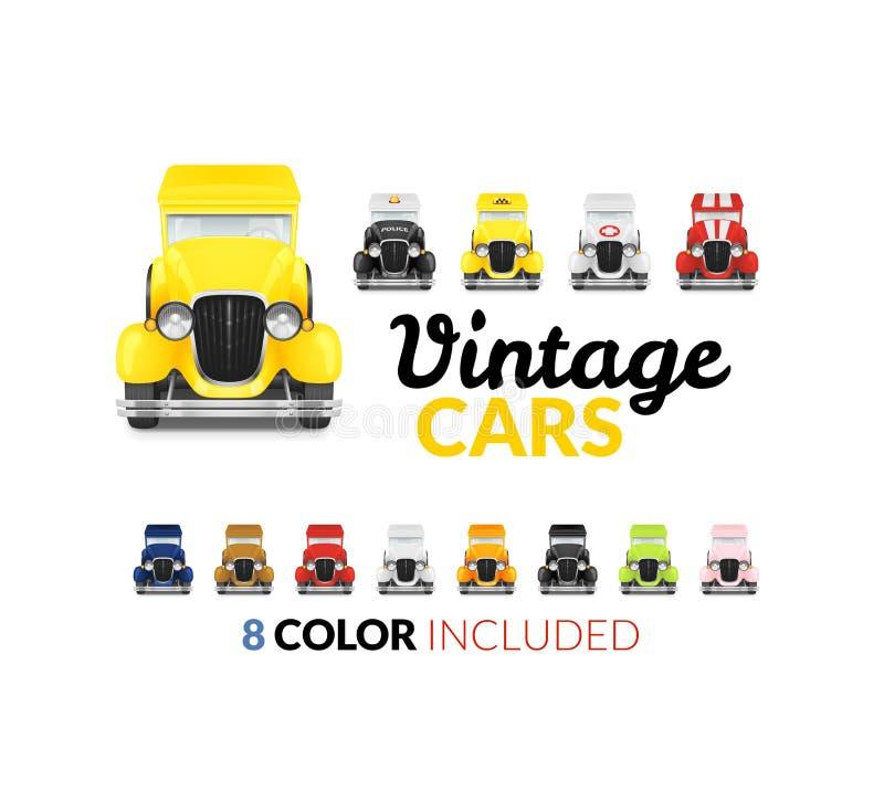 Icono retro determinado del coche stock de ilustración