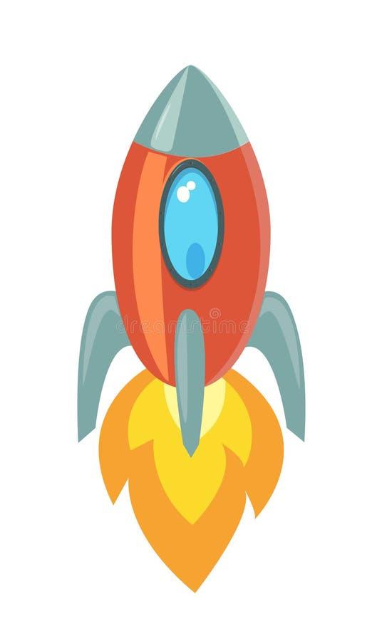 Icono retro simple de la nave espacial Vehículo espacial del despegue libre illustration