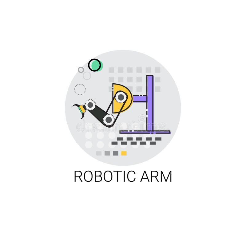 Icono robótico elegante de la producción de la industria de la automatización industrial de la maquinaria del brazo ilustración del vector