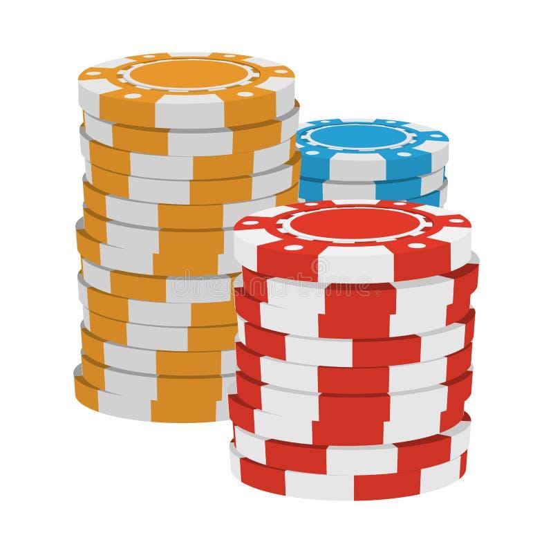 Icono rojo, amarillo y azul de la historieta de los símbolos del casino libre illustration