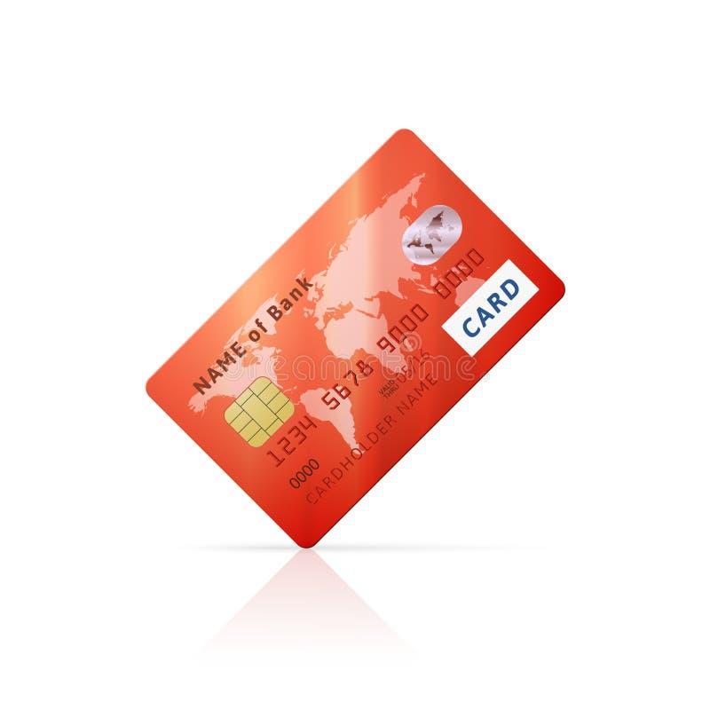 Icono rojo brillante detallado de la tarjeta de crédito libre illustration