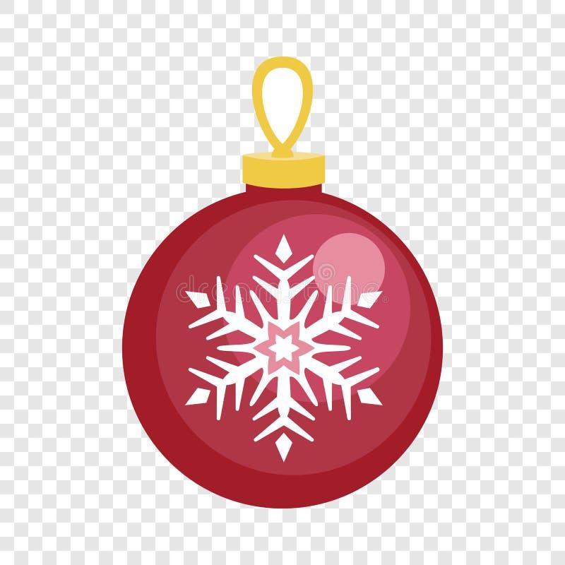 Icono rojo de la bola del árbol de abeto, estilo plano stock de ilustración