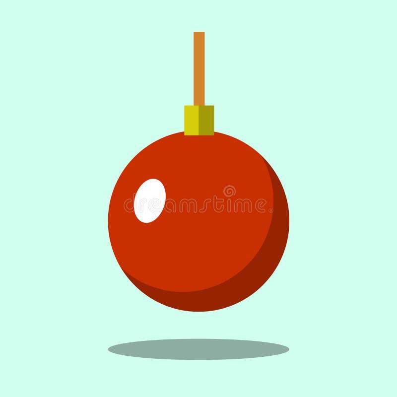 Icono rojo de la bola del árbol de navidad aislado en fondo del verde del iigt Símbolo de la Feliz Año Nuevo, celebración del día libre illustration