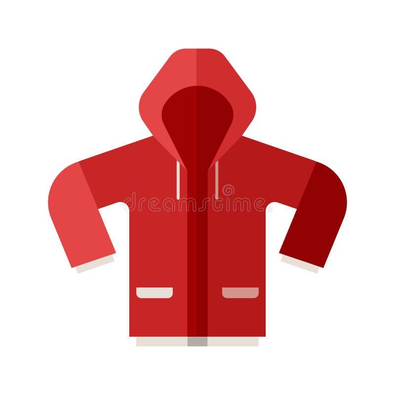 Icono rojo de la chaqueta de deporte stock de ilustración