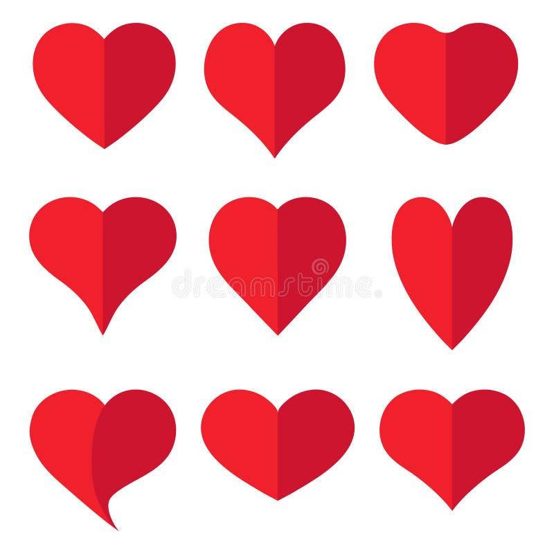 Icono rojo de la colección del corazón, símbolo del amor, en el fondo blanco stock de ilustración