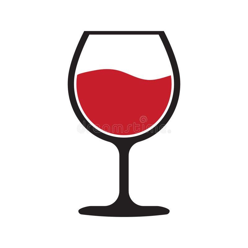 Icono rojo de la copa de vino stock de ilustración