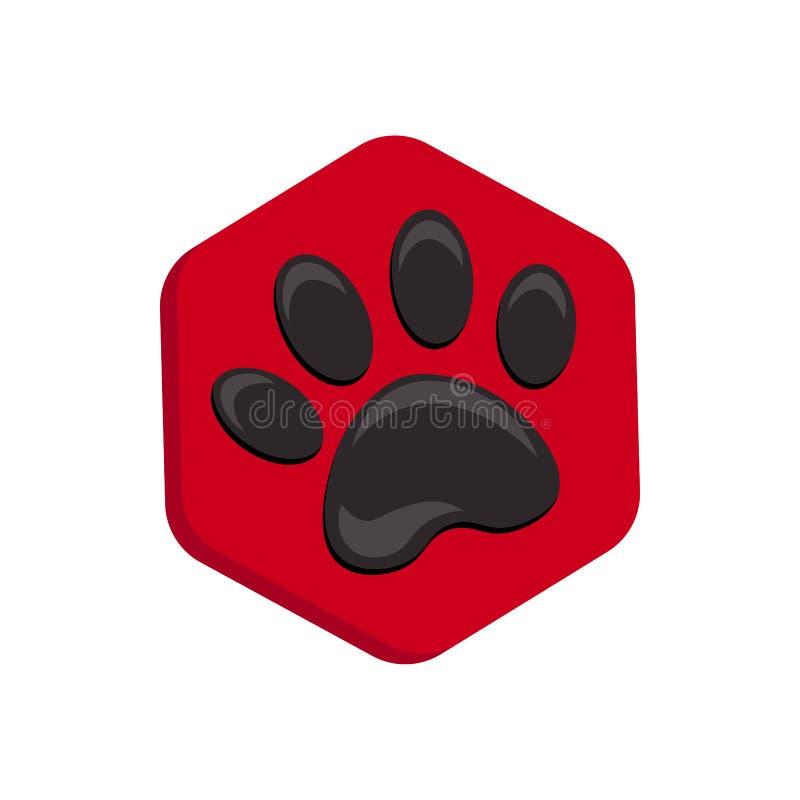 Icono rojo de la forma del hexágono del vector con los animales Iconos de la pata del gato aislados huella animal hexagonal stock de ilustración