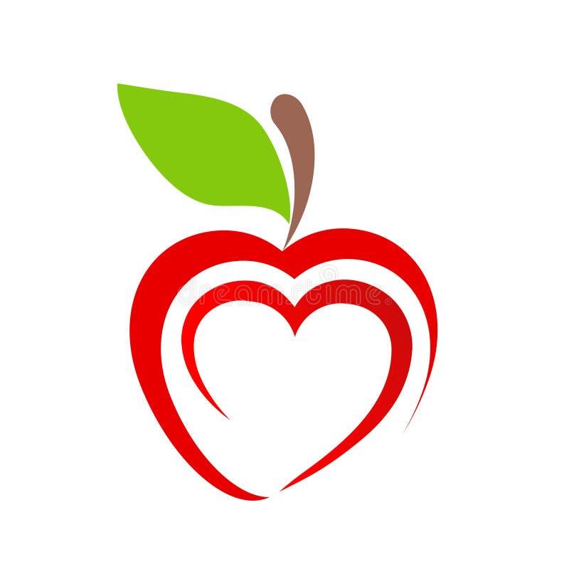Icono rojo de la fruta de la manzana con símbolo del corazón en el blanco, vector común IL libre illustration