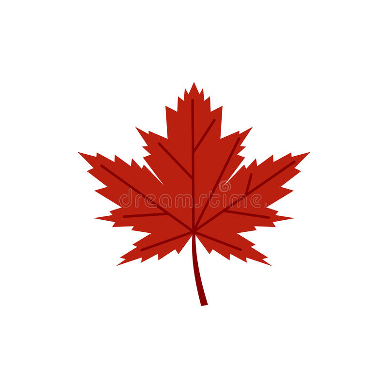 Icono rojo de la hoja del otoño, estilo plano ilustración del vector