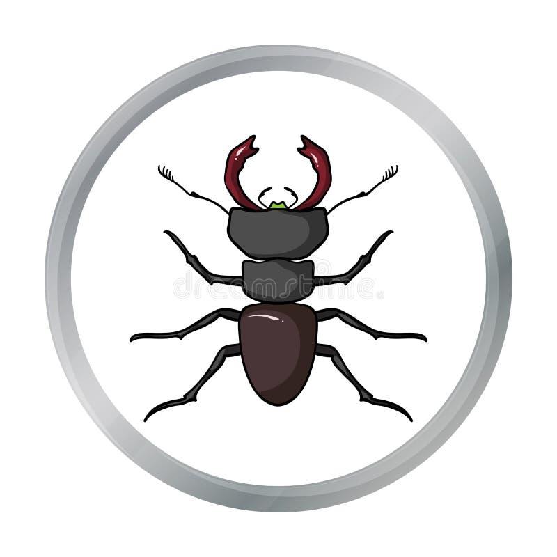 Icono rojo de la hormiga del bosque en estilo de la historieta en el fondo blanco Ejemplo del vector de la acción del símbolo de  stock de ilustración