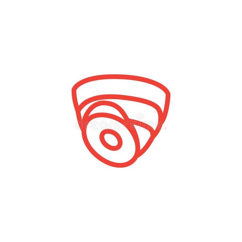 Icono rojo de la línea del domo de cámara de seguridad en fondo blanco Ilustración de vectores de estilo plano rojo libre illustration
