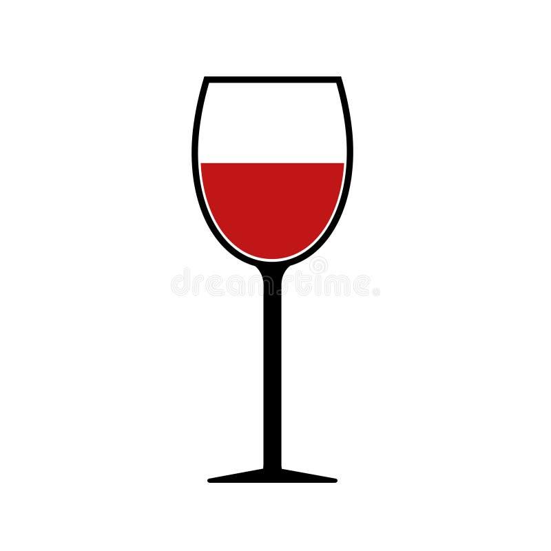 Icono rojo de la silueta de la copa de vino aislado libre illustration