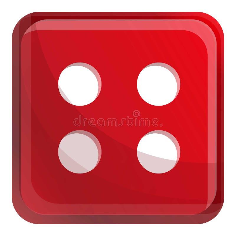 Icono rojo de los dados del casino, estilo de la historieta stock de ilustración