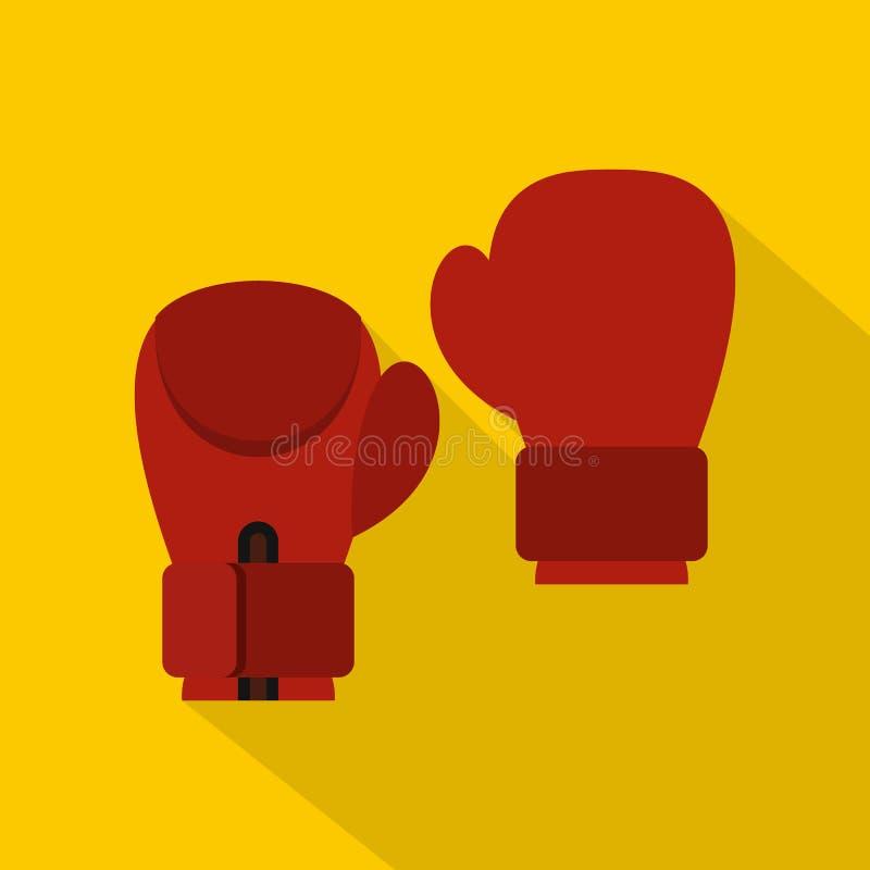Icono rojo de los guantes de boxeo, estilo plano stock de ilustración